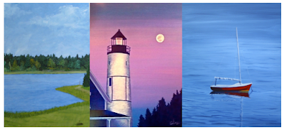 """L-R: """"Due North"""", """"The Lighthouse at Sandy Neck"""", """"The Red Sailboat"""""""