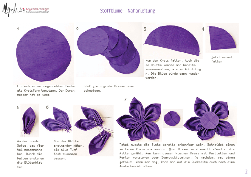 Myrahdesign Stoffblume Selber Nähen Bastelanleitung