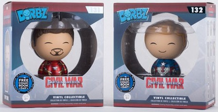 Free Comic Book Day 2016 Edition Captain America: Civil War Unmasked Tony Stark & Steve Rogers Dorbz Vinyl Figures by Funko