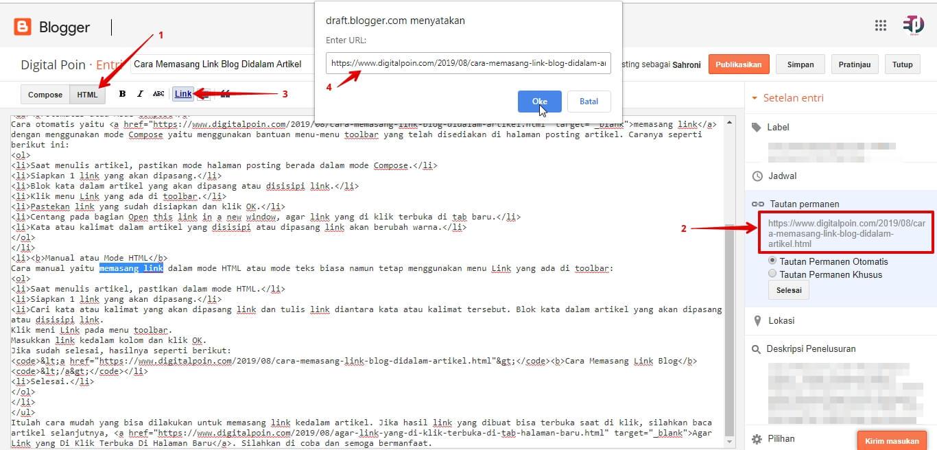 Cara Memasang Link Blog