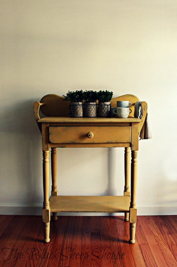 Vintage washstand with a new painted finish.