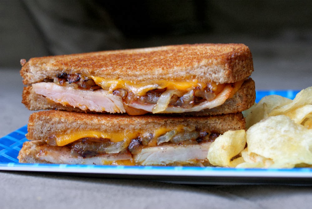 An Adult-Approved Grilled Cheese Sandwich: Smoked Ham and Caramelized Onion Grilled Cheese