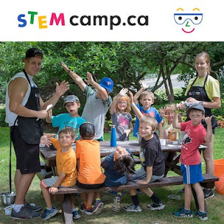 Campers and staff at STEM Camp in Ontario, Canada having a picnic lunch.