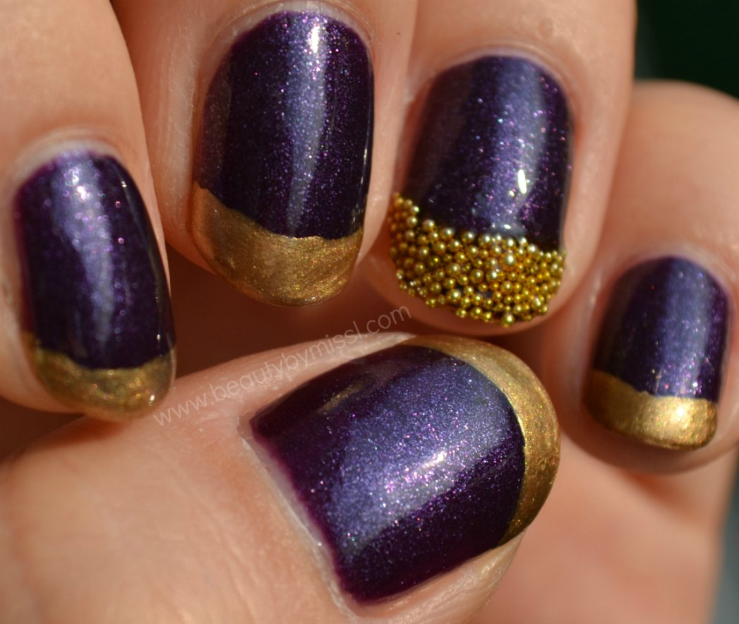 nail art beads, e.l.f. Party Purple, Models Own Gold Digger
