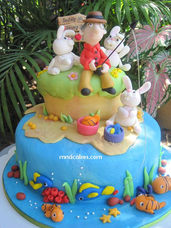 Its Melanies Dad 60th Birthday I Was Commissioned A 2 Tiered Fishing And Nemo Themed Cake Her Loves Gardening