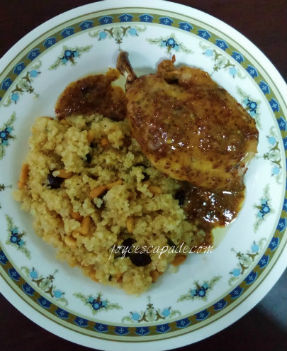 Baked Chicken with Honey-Whole Grain Mustard Glaze & Quinoa with Pine ...
