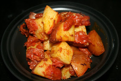 curried potatoes recipe made in the crockpot slow cooker