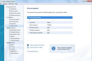 Programma Auslogics Registry Cleaner