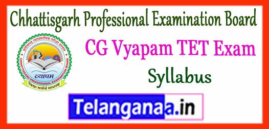 CG Vyapam Chhattisgarh Professional Examination Board TET Syllabus 2017