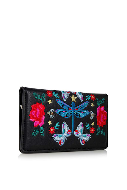 embroidered leather purse, embroidered black purse, embroidered clutch,