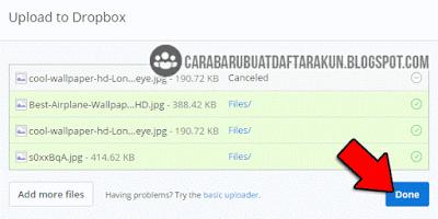 cara masukin file ke dropbox