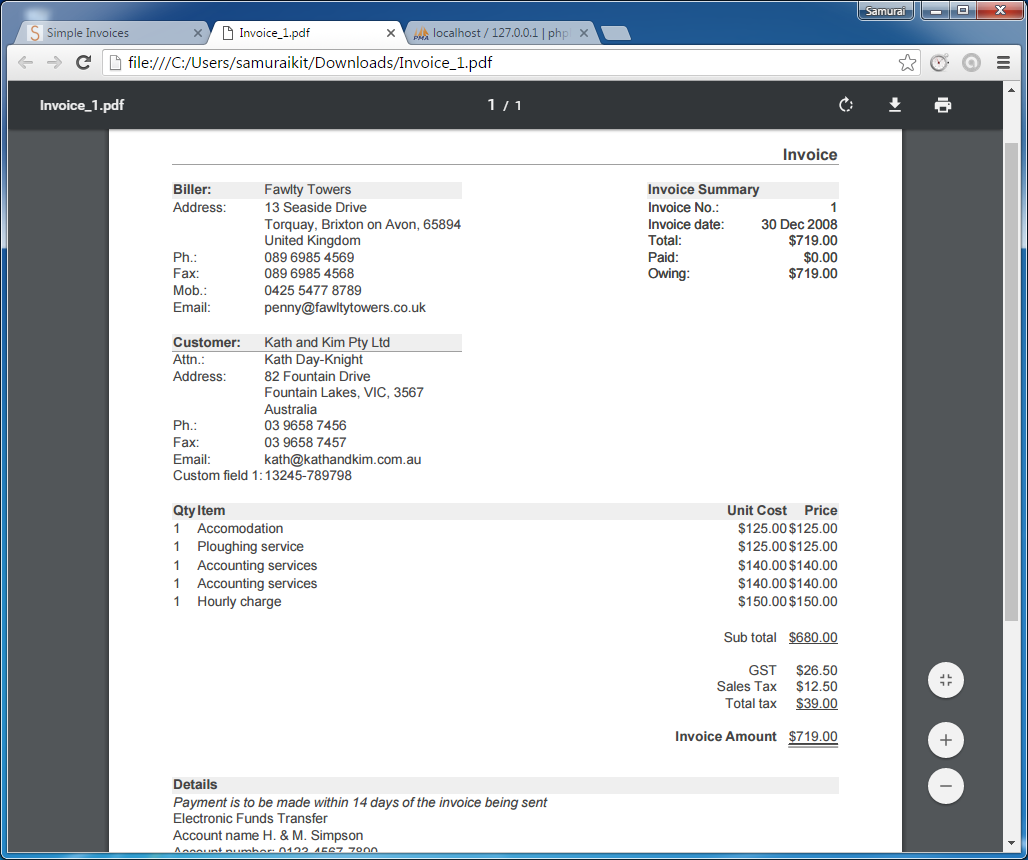 Codingtrabla install simpleinvoices on windows for Invoice programs for windows 7