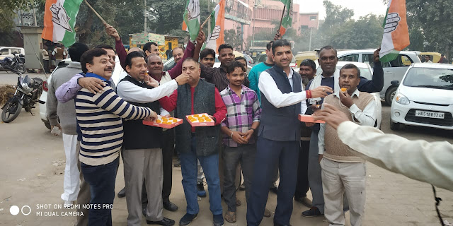 Congratulations celebrate the election victory at BK Chowk in NIT Faridabad;