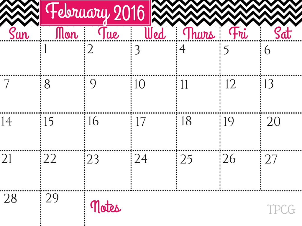 February 2016 Free Printables - The Pretty City Girl: Indian Travel & Lifestyle Blog