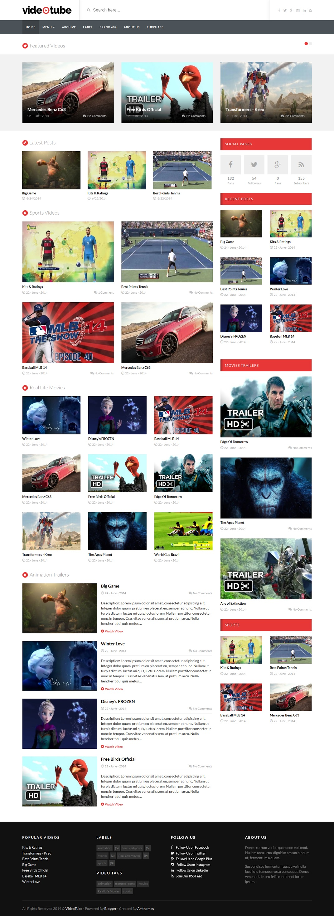 VideoTube Responsive Video Blogger Template Demo