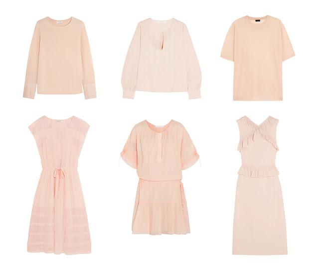 Розовые блузки, свитера и платья