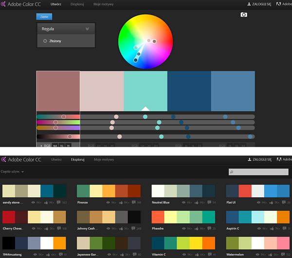 dobieranie kolorów palety kolorystyczne adobe kuler