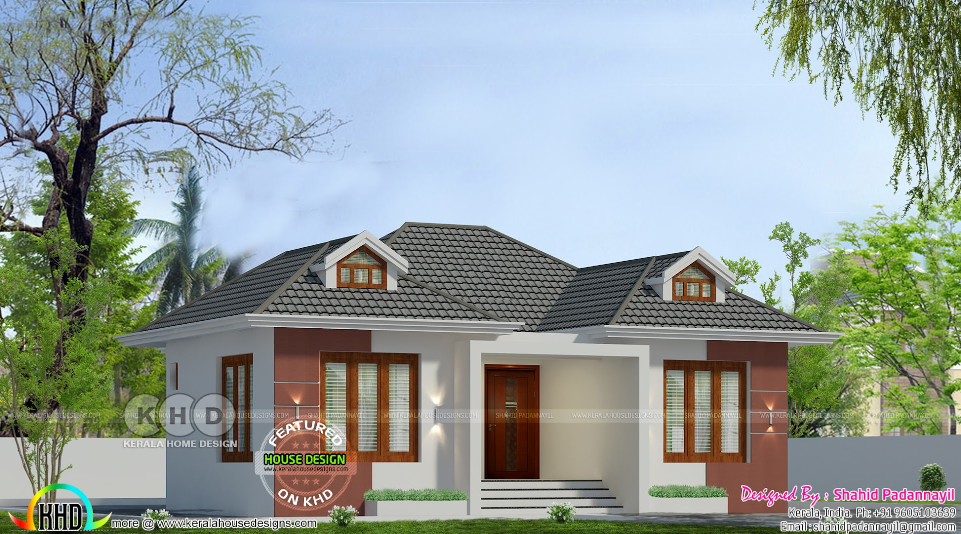 Cute low cost 2 bedroom house kerala home design and - Scrivanie design low cost ...