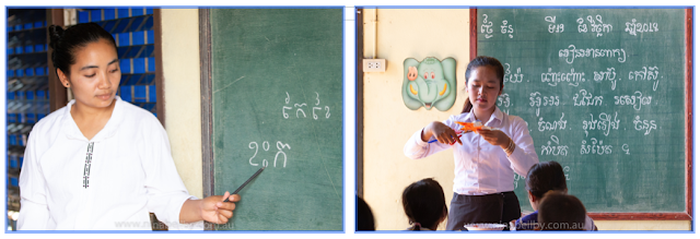 Teacher pointing to Khmer words on the blackboard and teacher cutting out a paper star in front of classroom