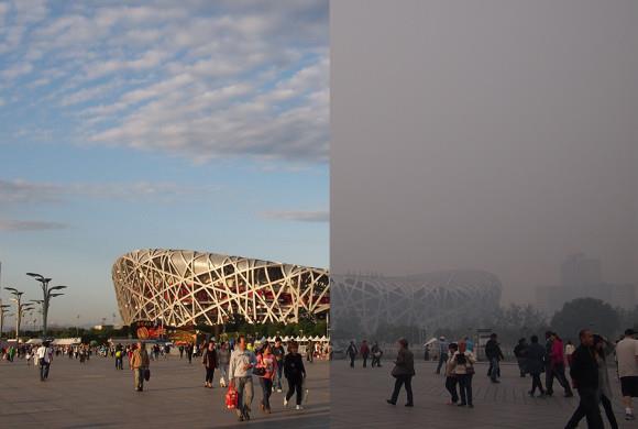 Hình ảnh so sánh cho thấy tình trạng sương mù ô nhiễm tại Bắc Kinh