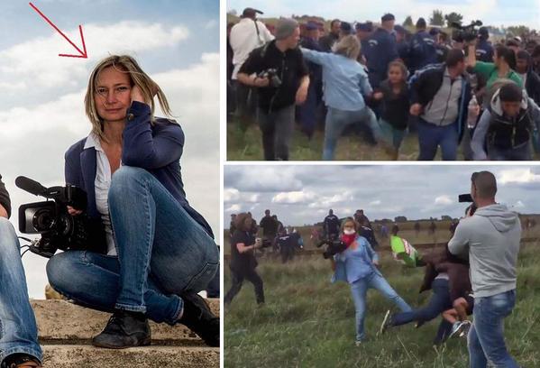 Petra Laszlo a cinegrafista húngara filmada chutando refugiados é demitida