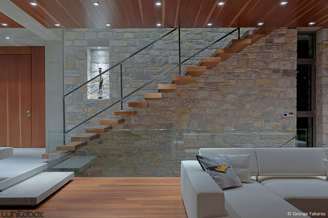 clean wood design idea Stone House in Anavissos