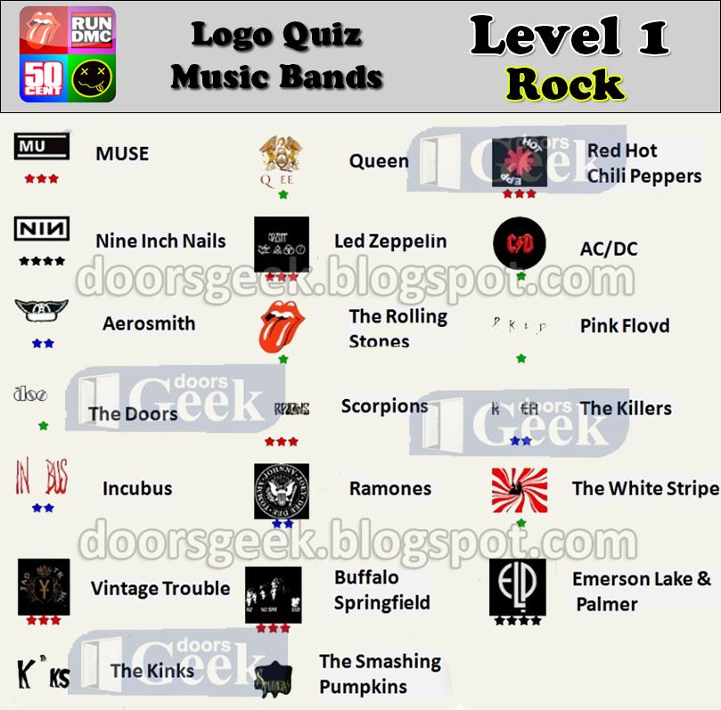 logo quiz music bands level 1 rock doors geek
