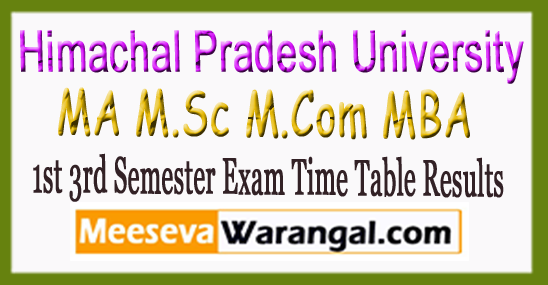 HPU MA M.Sc M.Com MBA 1st 3rd Semester Exam Time Table Results 2017