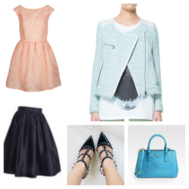 Topshop organza prom dress, Zara ethnic blazer, Party Skirts Lady Lenght, Valentino Rockstud Noir, Prada Saffiano Lux Tote in Turchese