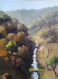 Oil painting of a gorge with a river surrounded by trees.