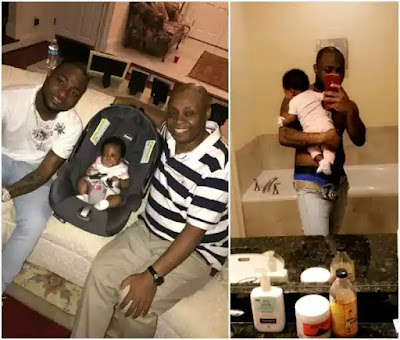 Beautiful 3 generations photo of Davido, his dad and his 2nd daughter
