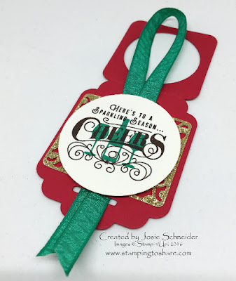 Here's to Cheers Wine Bottle Tag Stampin' Up!
