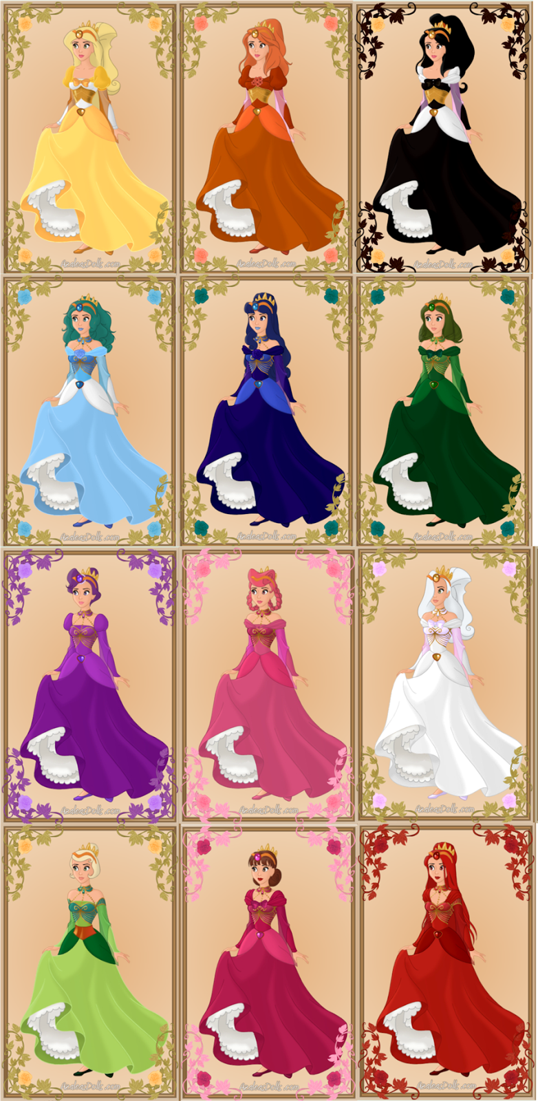 12 dancing princesses names and flowers