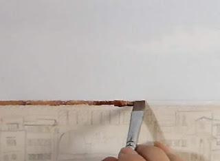 水彩画、平筆で屋根を描く