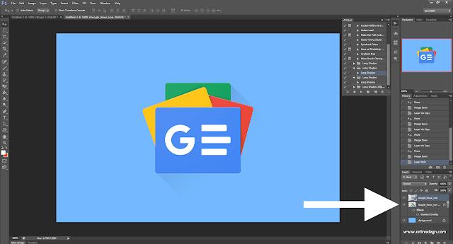 Cara Membuat Gambar Postingan Di Blogger Dengan Mudah - Hasil Effect Long Shadow di Photoshop