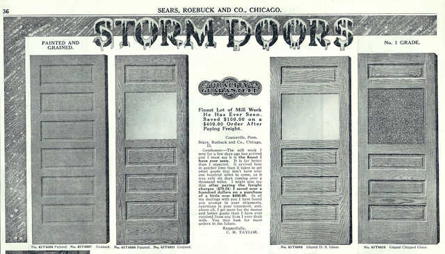 wooden many-panel storm doors from Sears 1915 Building materials catalog