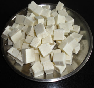 stir fried paneer cubes to make pulao