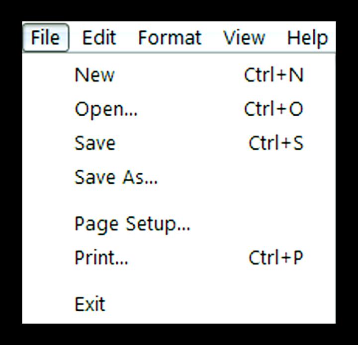 Description of File Menu