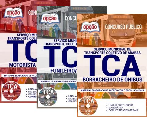 Apostila concurso TCA de Araras 2018 - Motorista de Ônibus, Borracheiro de Ônibus, Funileiro / Pintor