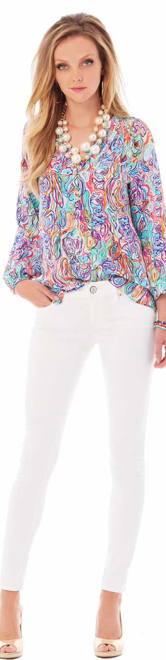 LILLY PULITZER ELSA TOP-WHAT A CATCH