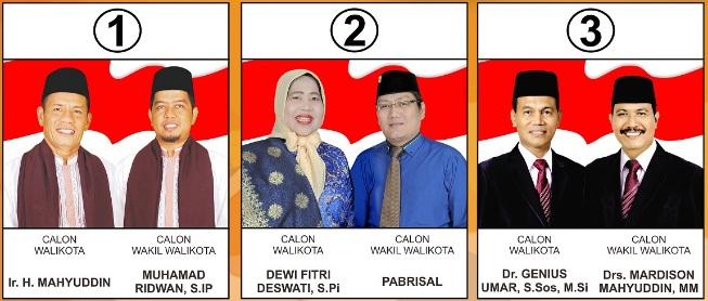 Tiga pasang calon walikota dan wakil walikota Kota Pariaman 2018