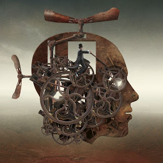 fotomontaje surrealista perfil steampunk