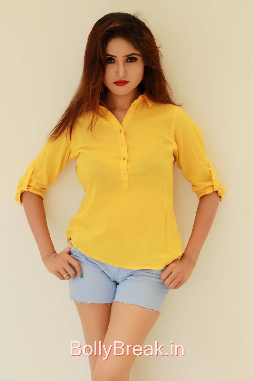 Sony Charishta Photo Gallery with no Watermarks, Sony Charishta in Denim Shorts - Hot Photoshoot Images in Yellow Shirt