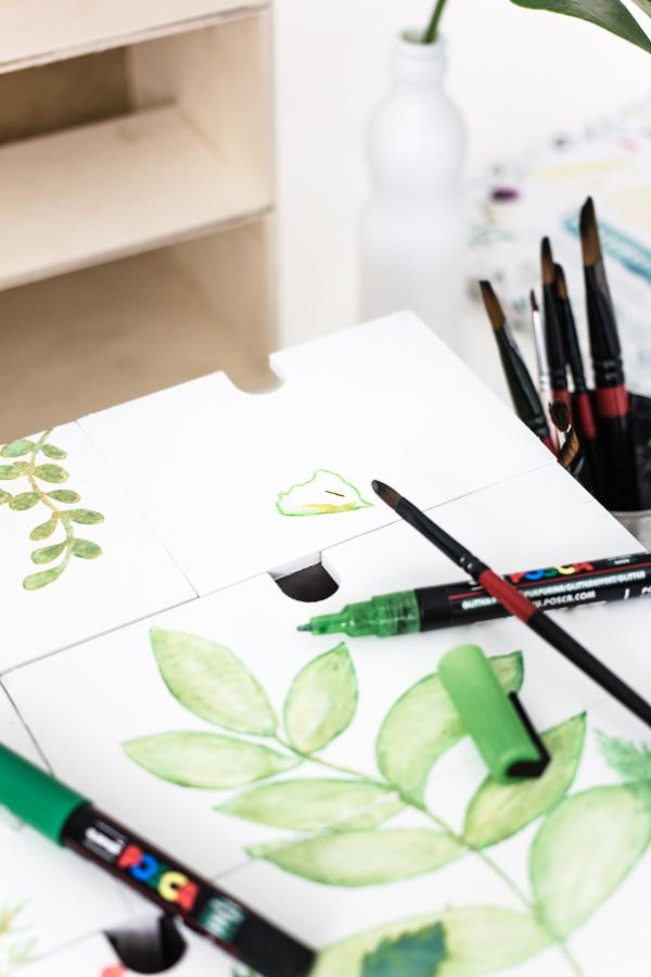 Urban Jungle: Aquarell-Malerei mit Farb-Markern auf Wasserbasis. titatoni.de