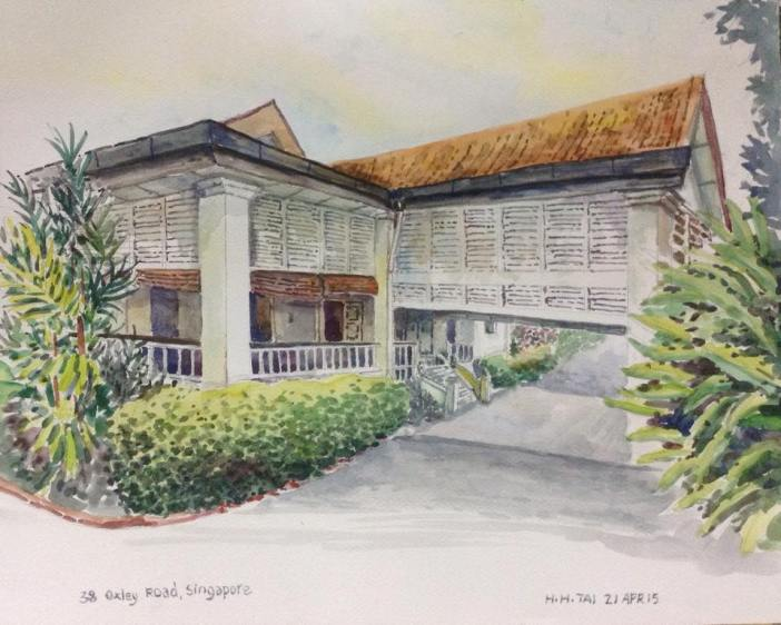 Illustration of Mr LKY's house in 38 Oxley Road