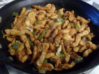 Fajitas: Chicken Strips, Bell Peppers, Onions