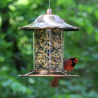 Copper made anti-squirrel bird feeder