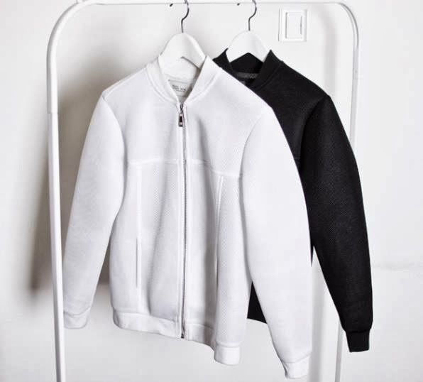 Bomber Jacket Leather White Black Mesh