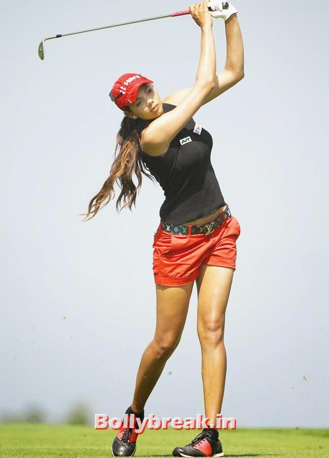 Golfer Sharmila Nicollet plays a shot on the greens, Check out India's 10 Hottest sports women