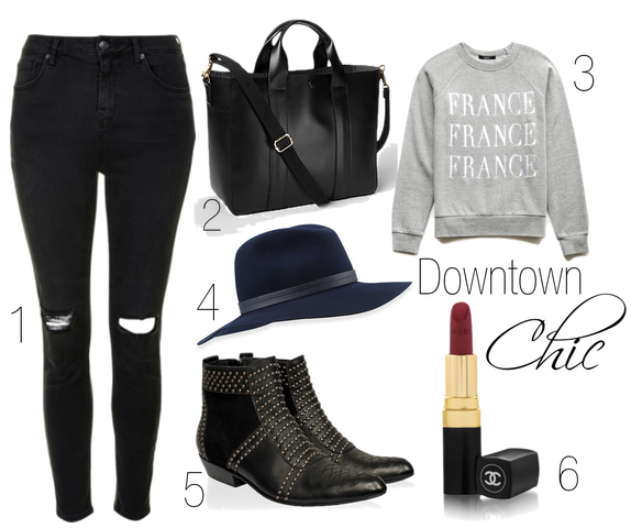 Outfit roundup Topshop jeans Anine Bing boots CHANEL Rouge Coco lipstick